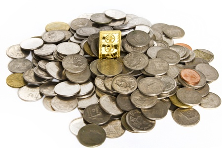 upgrowth: Gold bars on coins stacks Stock Photo