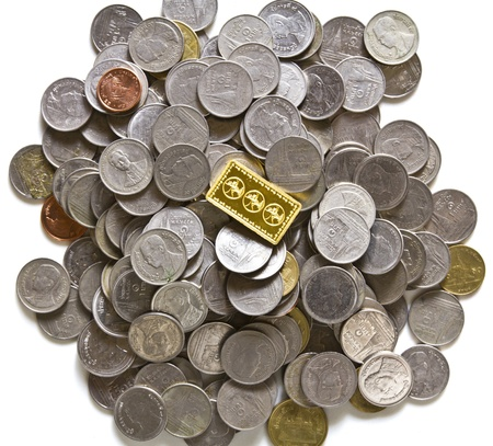 goldish: Gold bars on coins stacks Stock Photo