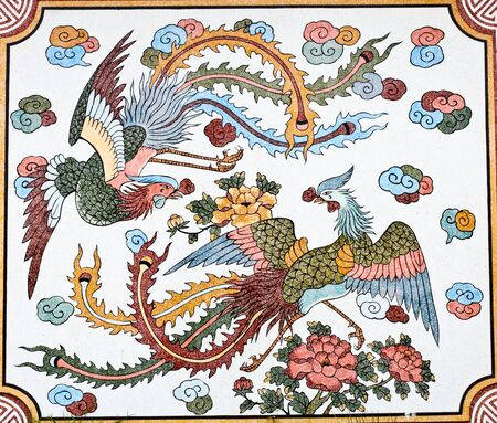 painting on mable wall of chinese temple in thailand