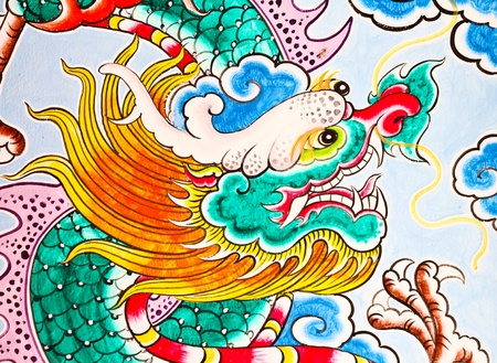 The Colorful of old painting dragon on the wall of chinese temple in thailand Stock Photo - 10762520