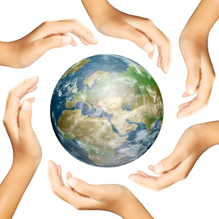 international recycle symbol: earth in hands making a circle