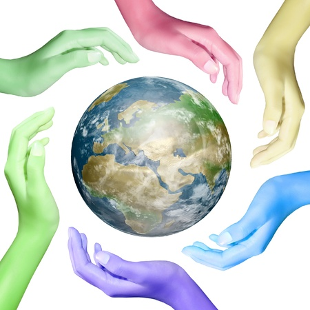 earth in hands color making a circle photo