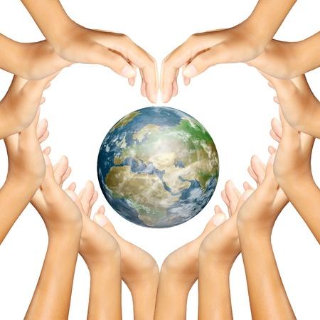 planeta verde: la tierra en manos de lo que aa coraz�n Foto de archivo
