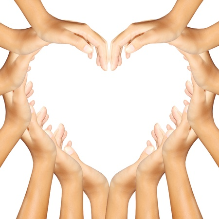 diverse hands: hands making a a heart