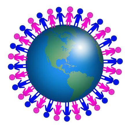 terra: icon Men and women on earth Stock Photo