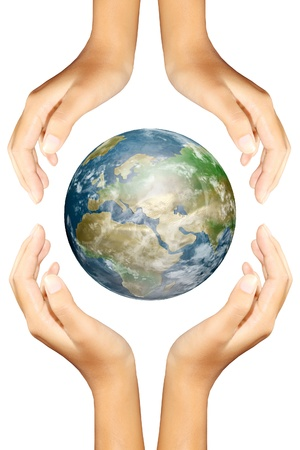 earth in hands photo
