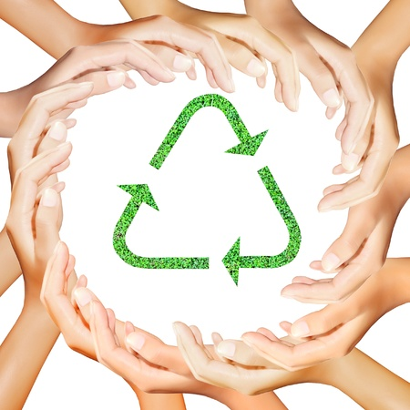 international recycle symbol: Recycle Logo in hands making a circle