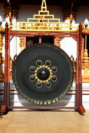 chinese drum: Gong in Thai temple Stock Photo
