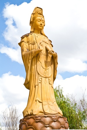 Guan Yin statue in chinese temple Stock Photo