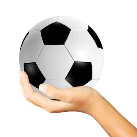 shootout: soccer ball in hands on white background