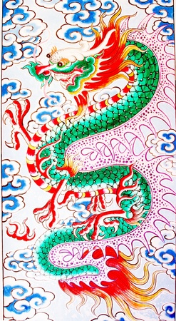 thai believe: The Colorful of old painting dragon on the wall of chinese temple Stock Photo