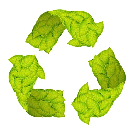 Recycle Logo with green leaves photo
