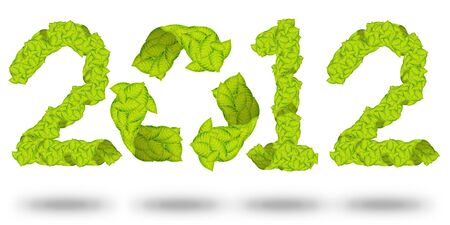green leaves Recycle Logo making a Pattern letter 2012 Stock Photo - 11871188
