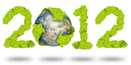 green leaves Recycle Logo on earth making a Pattern letter 2012 photo