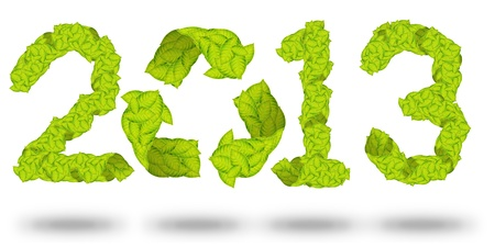 green leaves Recycle Logo making a Pattern letter 2013 photo
