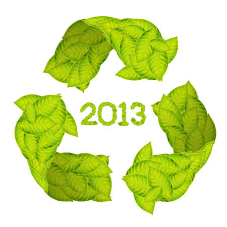 green leaves Recycle Logo making a Pattern letter 2013 Stock Photo - 11871240