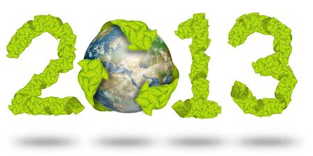 green leaves Recycle Logo on earth making a Pattern letter 2013 Stock Photo - 11871182