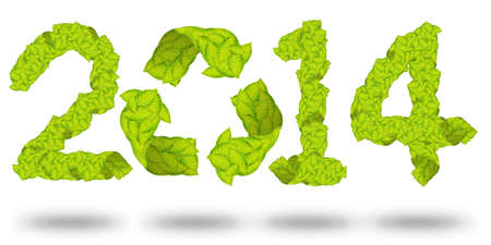 green leaves Recycle Logo making a Pattern letter 2014 photo