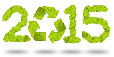 green leaves Recycle Logo making a Pattern letter 2015 photo