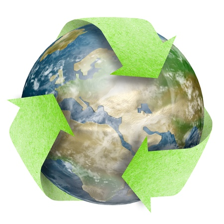 Recycle Logo on earth isolated on white background
