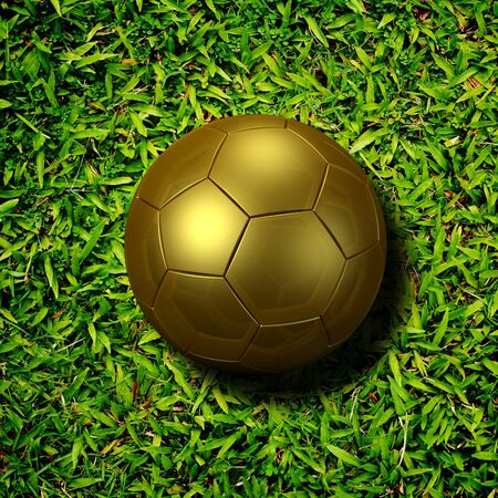 ballsport: soccer ball gold on soccer field Stock Photo