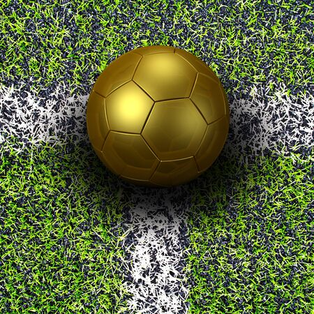 shootout: soccer ball gold on soccer field Stock Photo