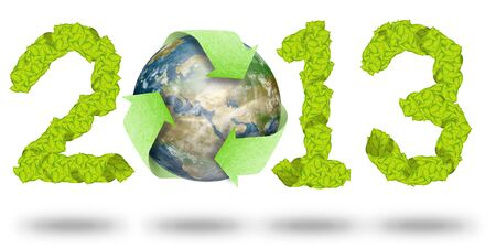 green leaves Recycle Logo on earth making a Pattern letter 2013 photo