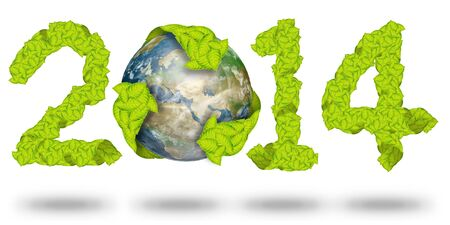 green leaves Recycle Logo on earth making a Pattern letter 2014 Stock Photo - 11927511