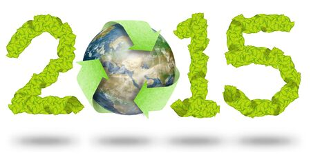 green leaves Recycle Logo on earth making a Pattern letter 2015 Stock Photo - 11927512