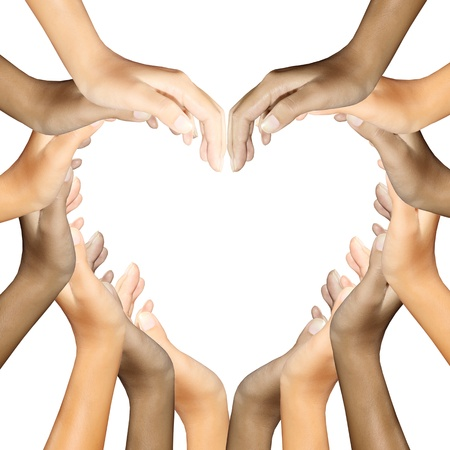 diverse hands: hands making a heart Stock Photo