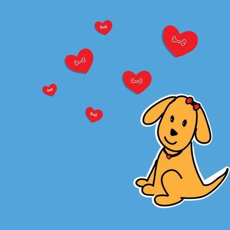 puppy love: doggie loveing  bone Stock Photo