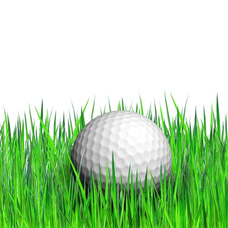 golf ball in green grass photo