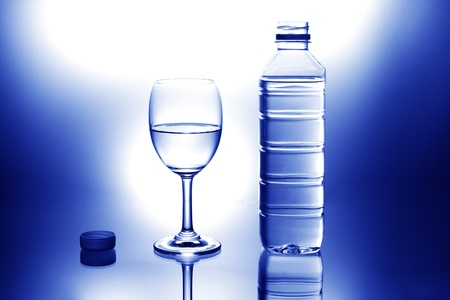 glass of water and Bottle of water photo