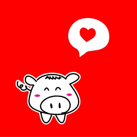drawing pig  valentine in love photo
