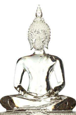 budha: Glass Buddha isolated on white background Stock Photo