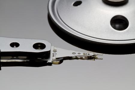 Closeup and macro view of hard drive photo