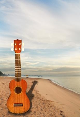 ukulele On the beach Stock Photo