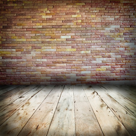 vintage brick wall and wood floor texture interior photo