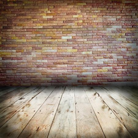 vintage brick wall and wood floor texture interior Stock Photo - 14687438
