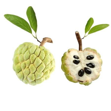 fruta tropical: Flan de manzana sobre fondo blanco