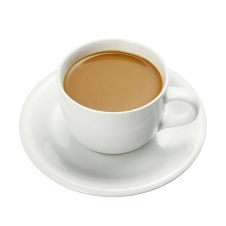 Blanco taza de café aislada en un fondo blanco + Trazado de recorte Foto de archivo