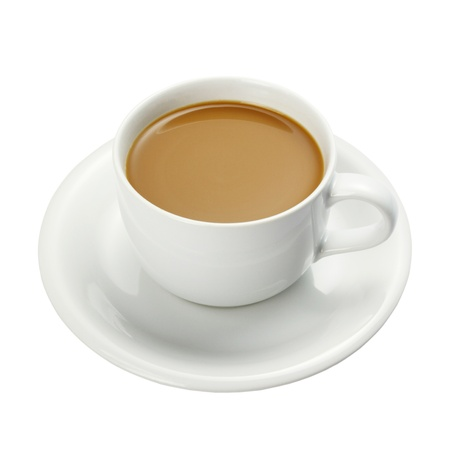 White cup of coffee isolated on a white background + Clipping Path Stock Photo - 14889000