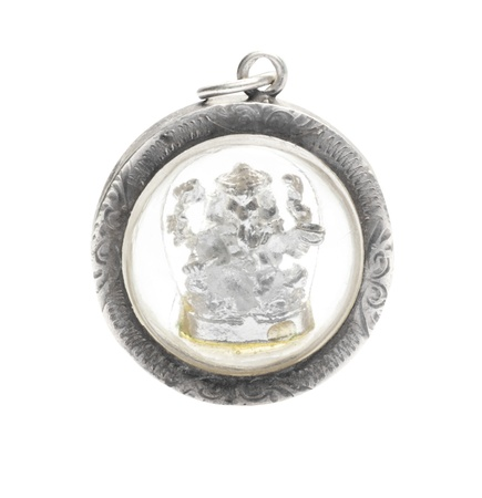 destroyer: Ganesh Pendant made of silver isolated on a white background + Clipping Path