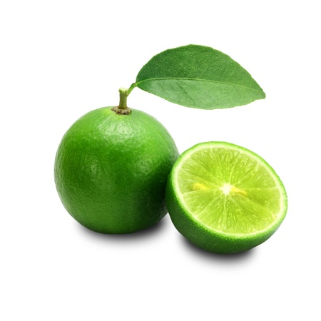lime green background: Lime isolated on a white background + Clipping Path Stock Photo
