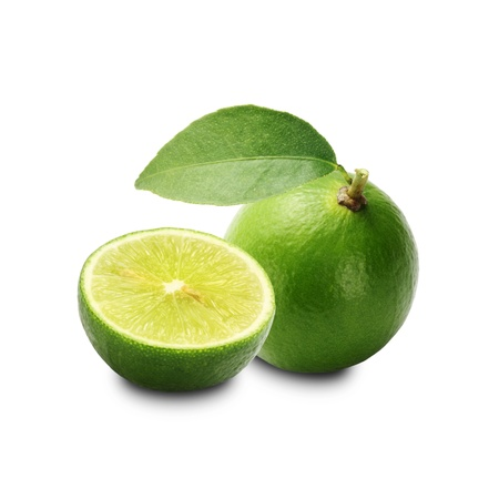 sweet and sour: Lime isolated on a white background + Clipping Path Stock Photo