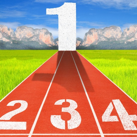 2,3,4 race to 1 on sport running track photo