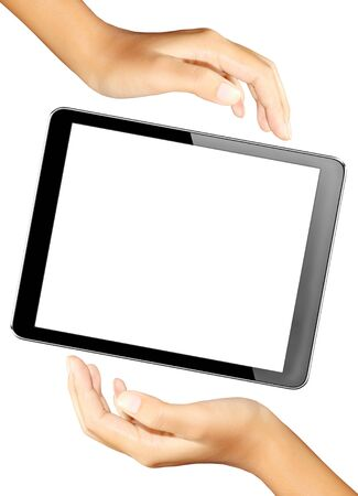 electronic book: tablet in hands with isolated screen