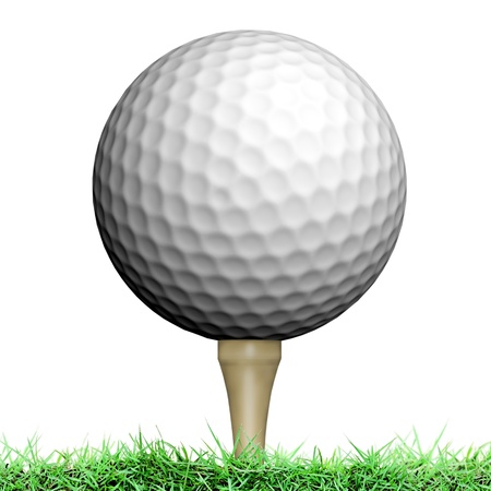 Golf ball on white background photo