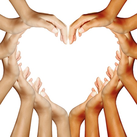 many hands: hands making a heart Stock Photo