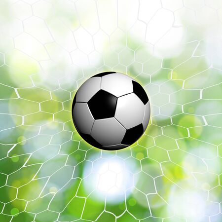 shootout: soccer ball on green bokeh background Stock Photo